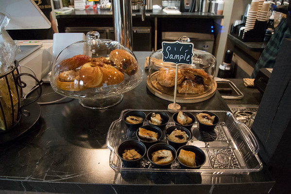 01/27/20 Wesley Bunnell | StaffrrPastry for sale along with samples at the Roasted Bean coffee shop. The shop which opened approximately two weeks ago is located at 934 Terryville Ave in Bristol.