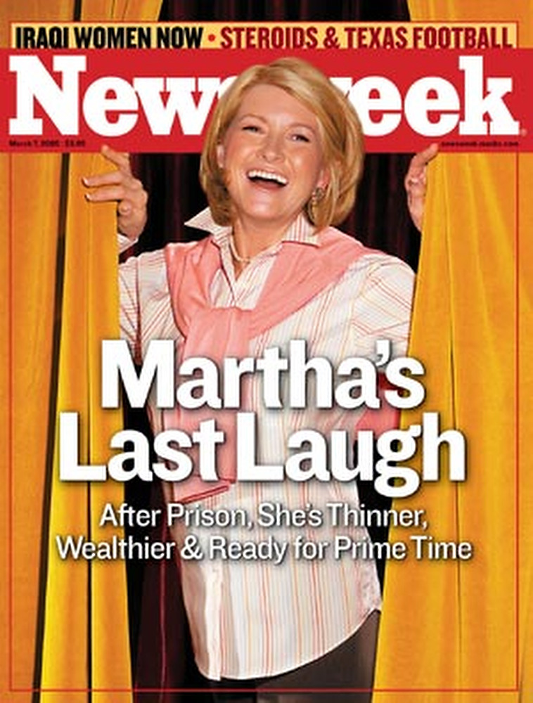 """. March 2005:  This digital composite of Martha Stewart\'s head on a model\'s body appeared on the cover of Newsweek as Stewart was emerging from prison \""""thinner, wealthier and ready for prime time\"""", as the headline reads. Newsweek disclosed the source of the cover image on Page 3 with the lines: \""""Cover: Photo illustration by Michael Elins ... head shot by Marc Bryan-Brown.\""""   SOURCE: http://www.cs.dartmouth.edu/farid/research/digitaltampering/"""