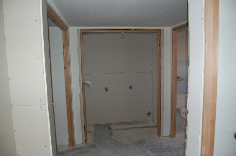 This is the bedroom end of the hallway; what you see here is the future laundry area.