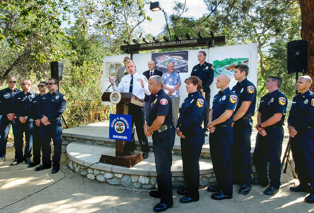 . Cal Fire Captain Mike Mohler, Southern Region speaking at wildfire prevention news conference  at Eaton Canyon Nature Center in Pasadena Friday, June 20, 2014. This summer fire season starts Saturday and may be even more fiery than usual, climatologists say. After years of drought, a warmer-than-average fall, winter and spring with 40 percent less rain this year, the Southland could be in for an especially scorching fire season. (Photo by Walt Mancini/Pasadena Star-News)
