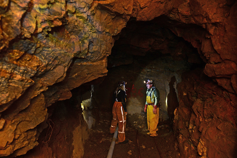 . Miner Tom Hendricks, right, checks on areas inside his mine with miner Justin Short, left, inside the Cross Mine at Caribou in Nederland, Co on January 24, 2014.   (Photo By Helen H. Richardson/ The Denver Post)