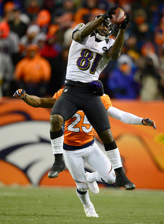 . Baltimore Ravens wide receiver Anquan Boldin (81) makes a catch in the fourth quarter The Denver Broncos vs Baltimore Ravens AFC Divisional playoff game at Sports Authority Field Saturday January 12, 2013. (Photo by AAron  Ontiveroz,/The Denver Post)