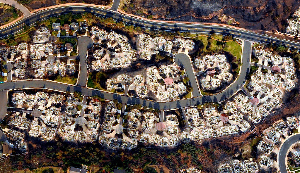 . An aerial photo, Thursday, June 28, 2012, of the Waldo Canyon Fire in Colorado Springs, Colo., shows the fire\'s destructive path in the Mountain Shadows subdivision.