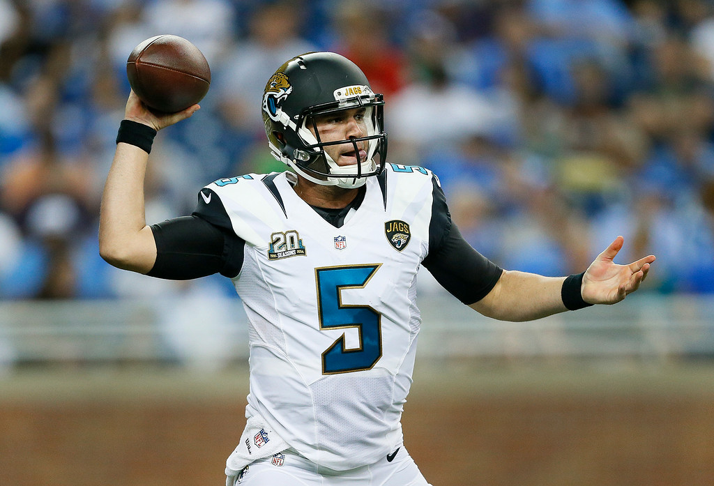 . Jacksonville Jaguars quarterback Blake Bortles (5) throws against the Detroit Lions in the second half of a preseason NFL football game at Ford Field in Detroit, Friday, Aug. 22, 2014. (AP Photo/Rick Osentoski)