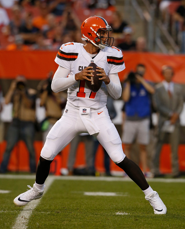 . Cleveland Browns quarterback Brock Osweiler (17) looks to throw during the first half of an NFL preseason football game against the New Orleans Saints, Thursday, Aug. 10, 2017, in Cleveland. (AP Photo/Ron Schwane)