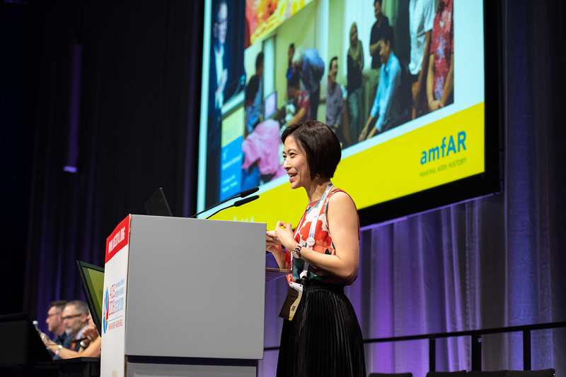 22nd International AIDS Conference (AIDS 2018) Amsterdam, Netherlands.   Copyright: Steve Forrest/Workers' Photos/ IAS  Photo shows: Nittaya Phanuphak, delivering a speech in memory of David Cooper, during the IAS Members' Meeting.
