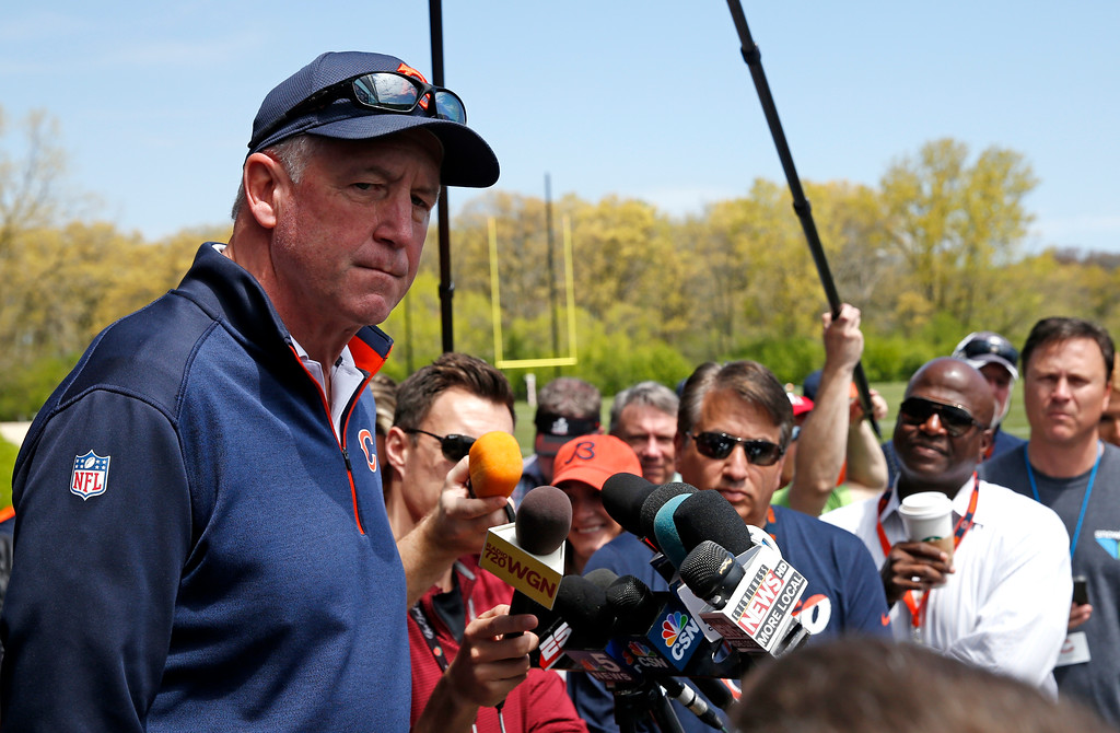 . Chicago Bears head coach John Fox listens to questions after the team\'s NFL football rookie minicamp in Lake Forest, Ill., Friday, May 12, 2017. (AP Photo/Nam Y. Huh)