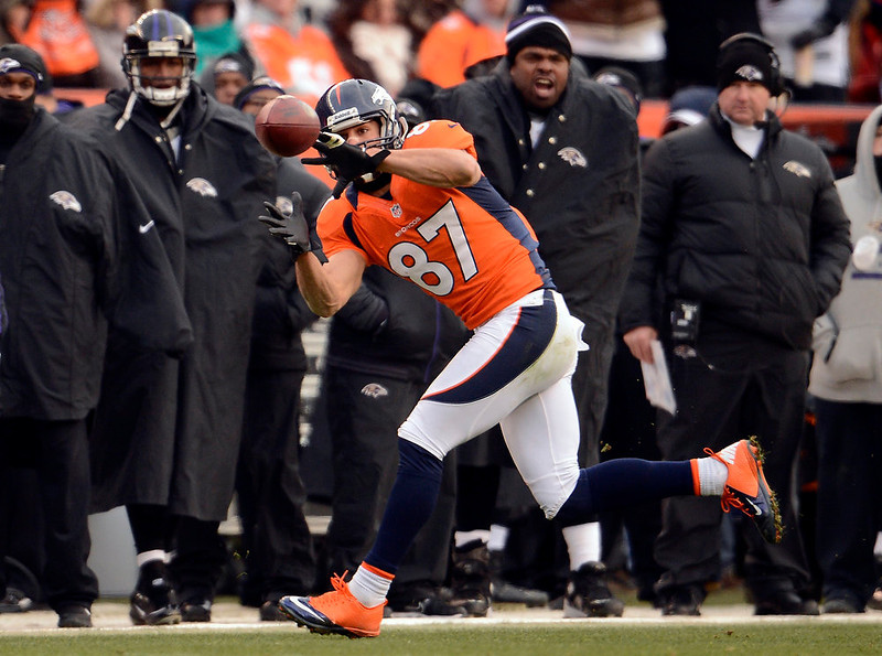 . Denver Broncos wide receiver Eric Decker (87) pulls in a pass from Denver Broncos quarterback Peyton Manning (18) during the first half.  The Denver Broncos vs Baltimore Ravens AFC Divisional playoff game at Sports Authority Field Saturday January 12, 2013. (Photo by John Leyba,/The Denver Post)