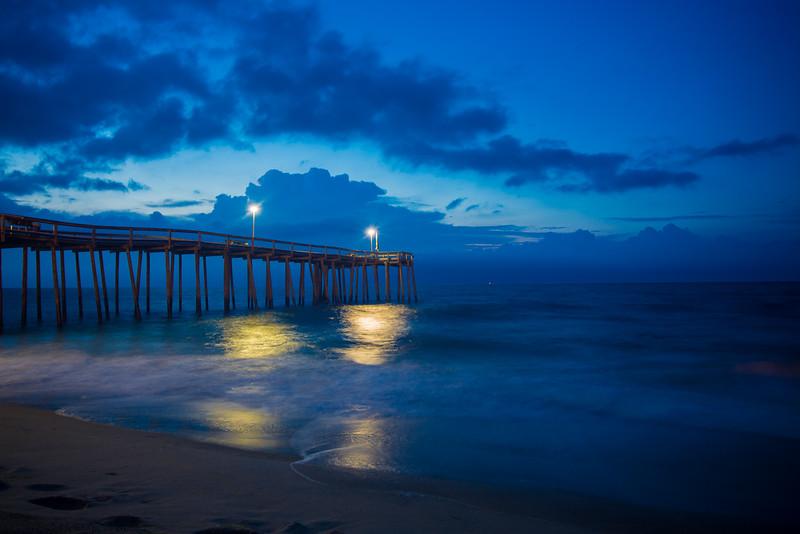 Sunrise on the Ocean City Pier in Ocean City, Maryland on the Atlantic Ocean