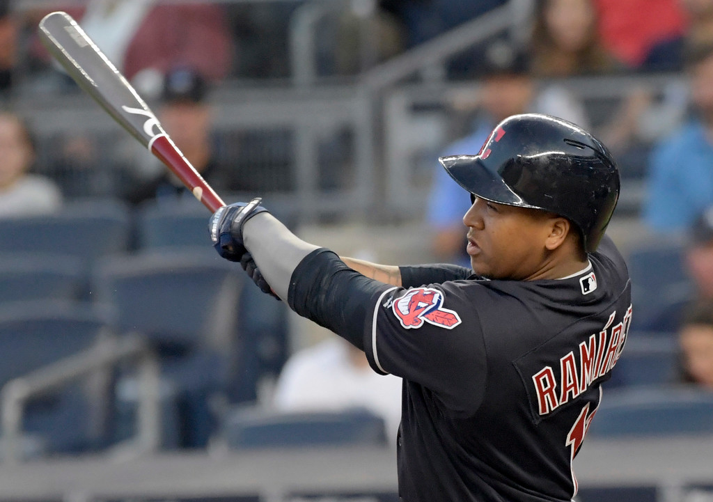 . Cleveland Indians\' Jose Ramirez hits a home run during the first inning of a baseball game against the New York Yankees Monday, Aug. 28, 2017, at Yankee Stadium in New York. (AP Photo/Bill Kostroun)