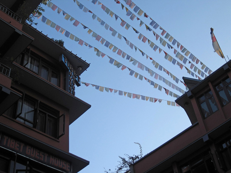 P Galpin: flags at Tibet Guest House