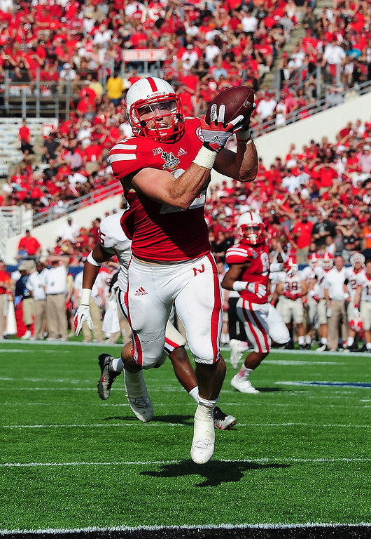 . Rex Burkhead #22 of the Nebraska Cornhuskers makes a catch for a touchdown against the Georgia Bulldogs during the Capital One Bowl at the Citrus Bowl on January 1, 2013 in Orlando, Florida. (Photo by Scott Cunningham/Getty Images)