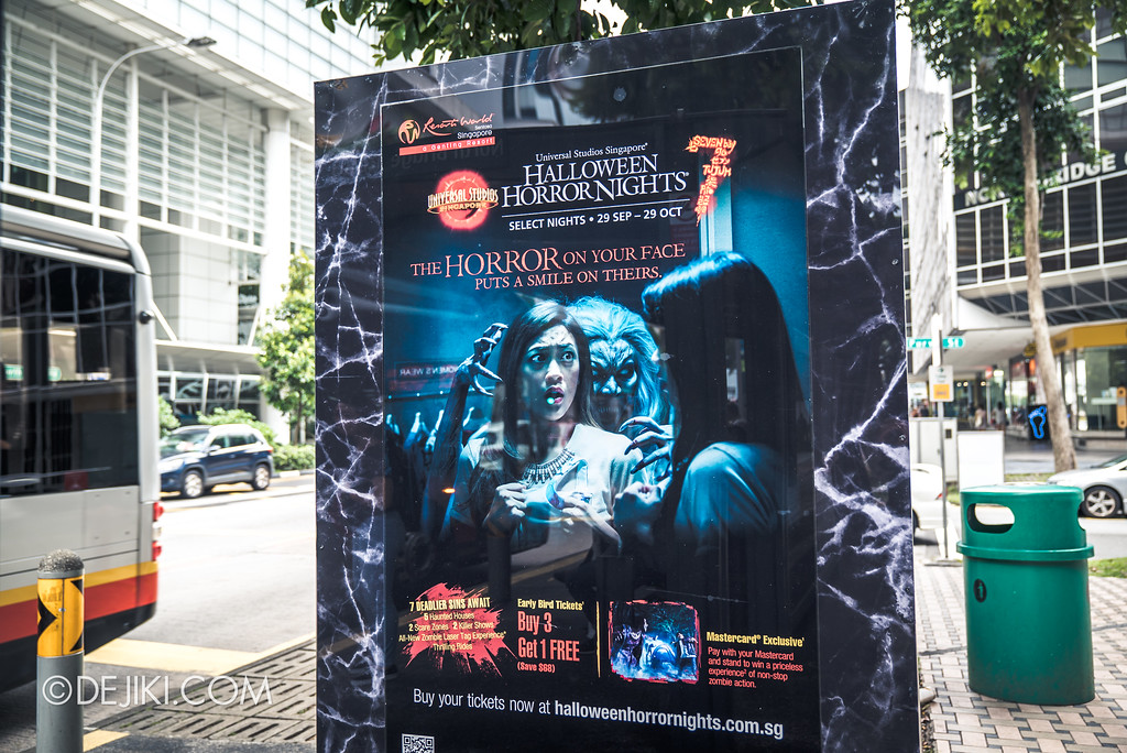 Universal Studios Singapore Park Update August 2017 - HHN7 Halloween Horror Nights 7 outdoor advertisement DEATH MALL memorial tombstone advertisement