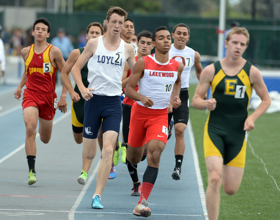 . Loyola\'s John Davis competes in the division 1 800 meters race during the CIF Southern Section track and final Championships at Cerritos College in Norwalk, Calif., Saturday, May 24, 2014.   (Keith Birmingham/Pasadena Star-News)
