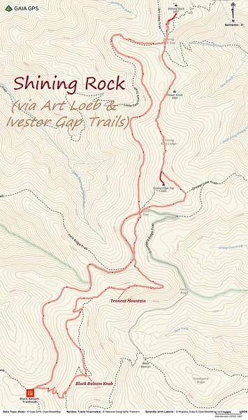 Shining Rock Hike Route Map