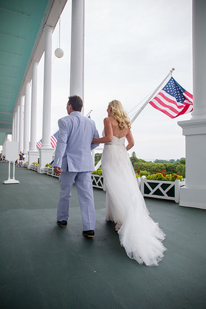 Grand Hotel porch Wedding Mackinac Island Photography / Alana + Sam