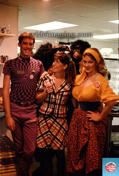"""Halloween at the Sunsphere 1982. The button/inset reads """"I was there on Closing Day!"""". The people who worked there made the Fair special, serving those who would often have to wait hours for the elevator ride to the reataurant. Over 15,000 people applied for jobs at the Fair and 3,000 applied for the handful of jobs at the Hardee's restaurant in the Sunsphere, which remained open after the Fair (closing in March 1984). This photo was taken in the fourth level food staging area."""