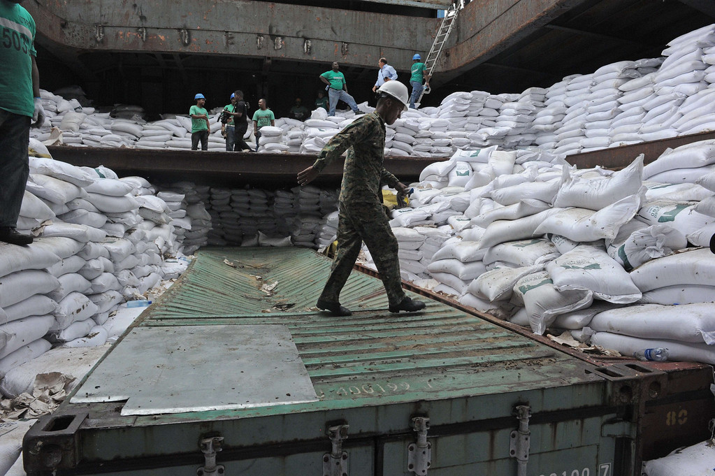 . A police offficer walks atop of a container inside the hold of North Korean vessel Chong Chong Gang at  Manzanillo harbour in Colon, 90km from Panama City on July 16, 2013.  Panama called Tuesday for UN investigators to inspect a shipment of suspected weapons parts aboard a North Korean-flagged ship as it tried to enter the Panama Canal last week. AFP PHOTO / Rodrigo  ARANGUA/AFP/Getty Images