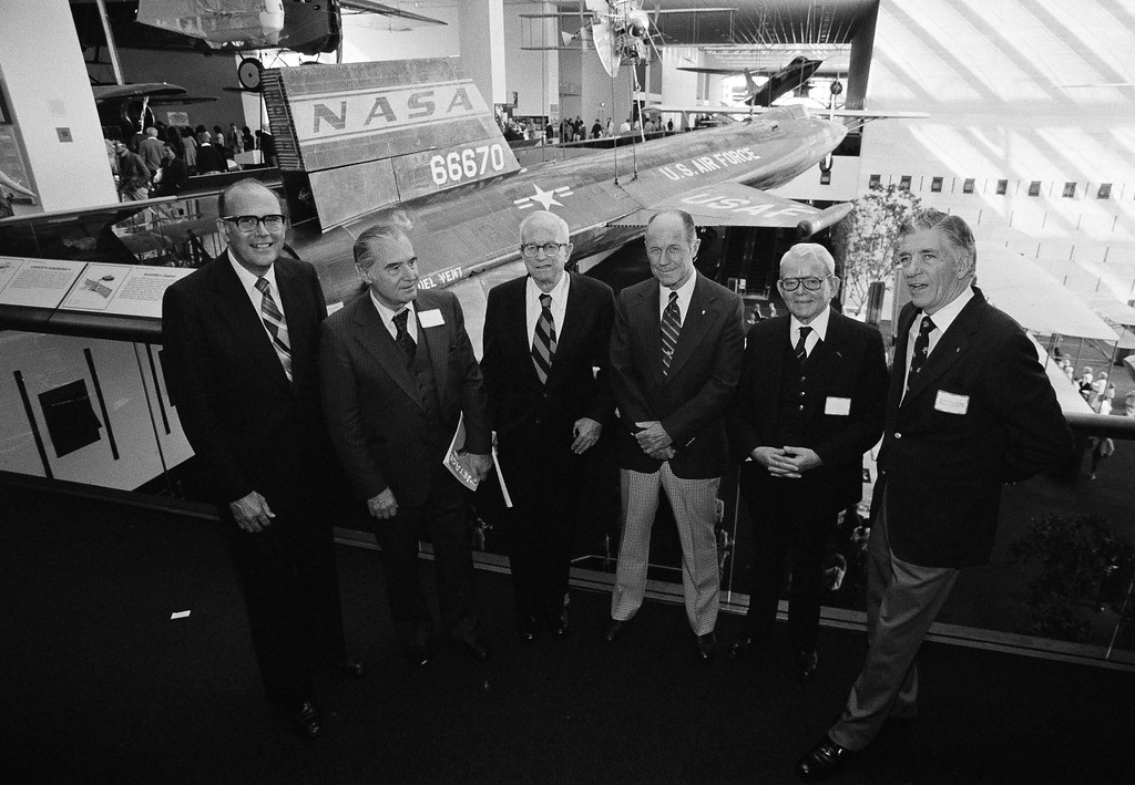 """. Five jet age pioneers gathered at the Smithsonian Institution in Washington, D.C., October 26, 1979, for a symposium celebrating the 40th anniversary of jet age aviation. From left are: John E. Steiner, \"""" Father of the Boeing 727 \"""";  Hans J.P. von Ohain, developer the the jet aircraft\'s first engine; Anselm Franz, developer of the axial flow turbojet engine; Brig. Gen. Charles ( Chuck ) Yeager, first man to fly faster than the speed of sound and Air Commodore Sir. Frank Whittle, first to sucessfully operate a turbojet engine; Najeeb E. Halaby, former head of the FAA. ( AP Photo/ Dennis Cook )"""