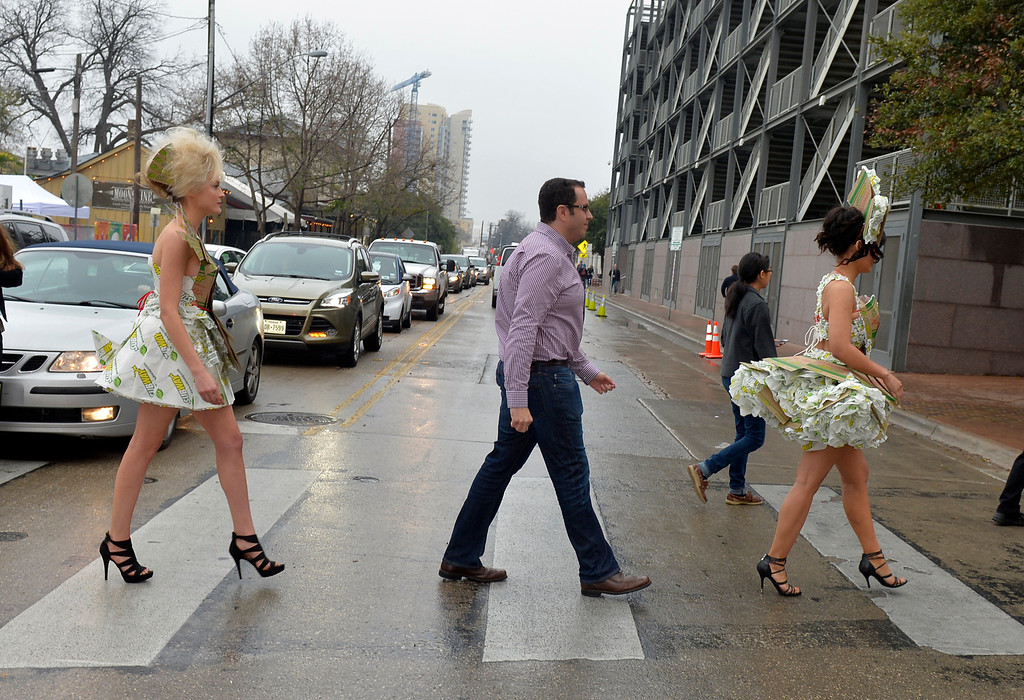 """. Jared \""""the SUBWAY Guy\"""" and SUBWAY models stop traffic on their way to the Austin Convention Center from SXSUBWAY Square at SXSW in Austin, Texas on Saturday, March 8, 2014.  (Photo by Jack Dempsey/Invision for SUBWAY Restaurants/AP Images)"""