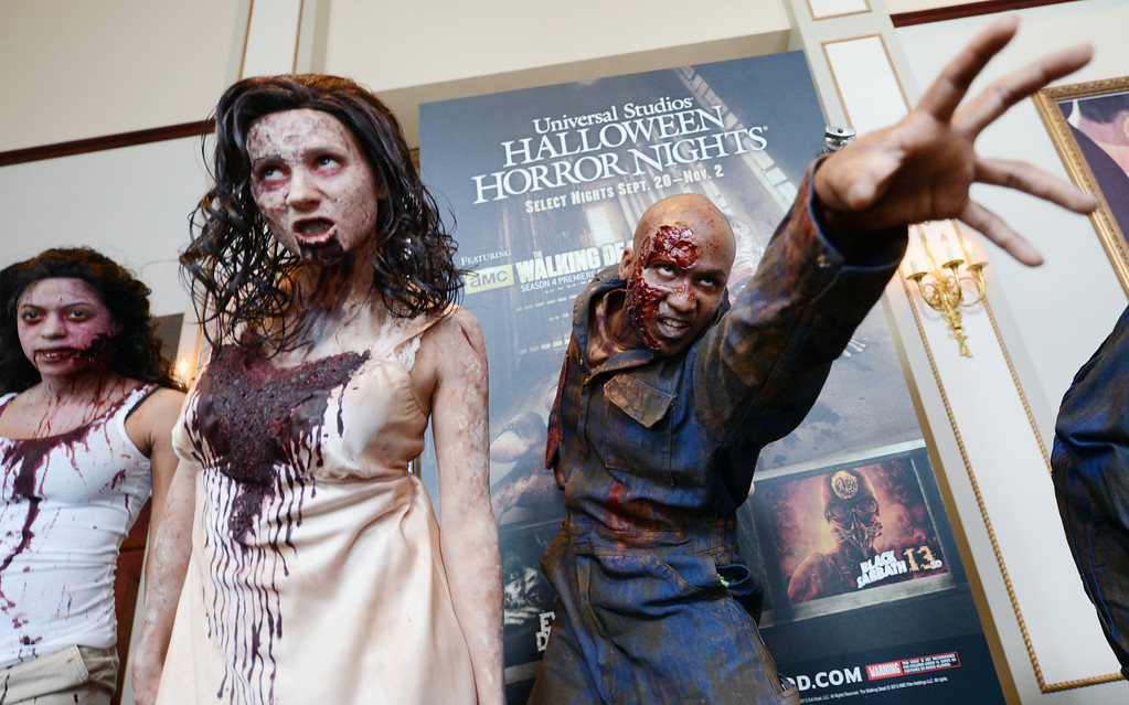 . Monsters pose for the cameras during a press preview of Universal Studios \'Halloween Horror Nights� at Universal Studios Tuesday, August 27, 2013. \'Halloween Horror Nights� begins on Friday, September 20, and continues on 21 select nights through November 2, 2013. (Hans Gutknecht/Los Angeles Daily News)