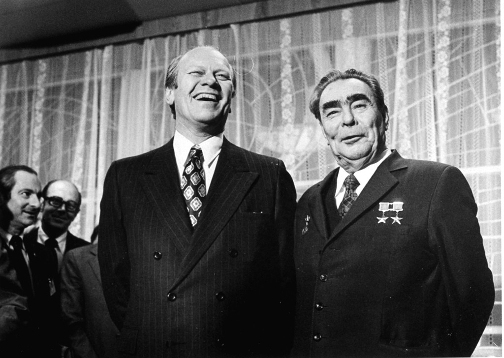 . U.S. President Gerald Ford and  Soviet Communist Party chief and the state leader Leonid Brezhnev share a joke just before their summit meeting in Vladivostok in this Nov. 24, 1974 file photo. On Tuesday, Dec. 19, 2006, Russia marks the 100th anniversary of Brezhnev\'s birth. (AP Photo/File)