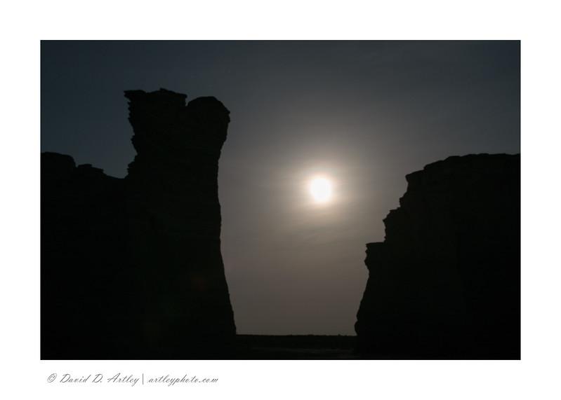 Moonlight Silhouette, Monument Rocks, KS