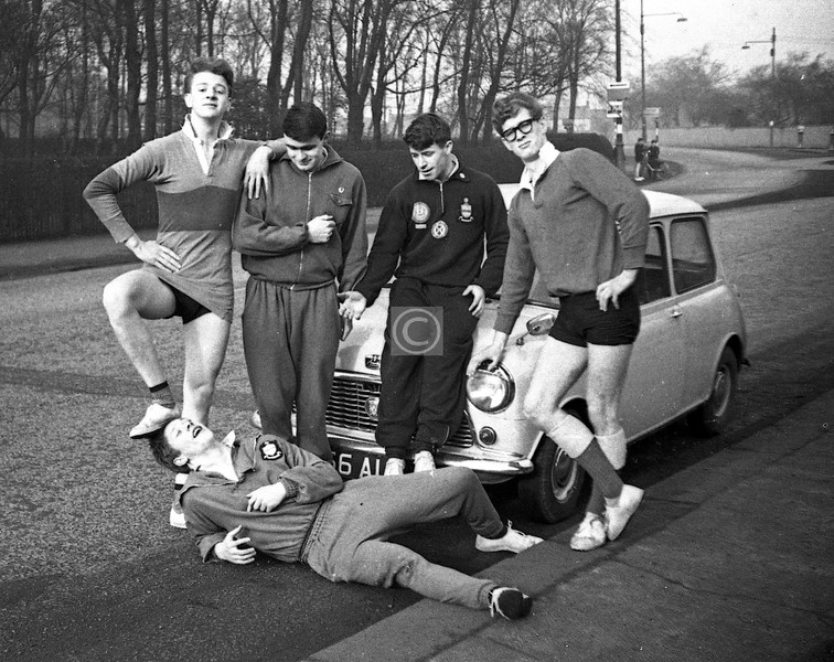 The Mini belonged to one of these Sixth Formers, the horizontal one I think. Not my year, and if I ever knew any of the names, I've forgotten them.
