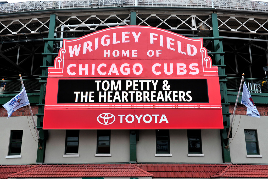 . A general view of the Chicago Cubs Marquee showing Tom Petty and the Heartbreakers on the 40th Anniversary Tour at Wrigley Field on Thursday, June 29, 2017, in Chicago. (Photo by Rob Grabowski/Invision/AP)