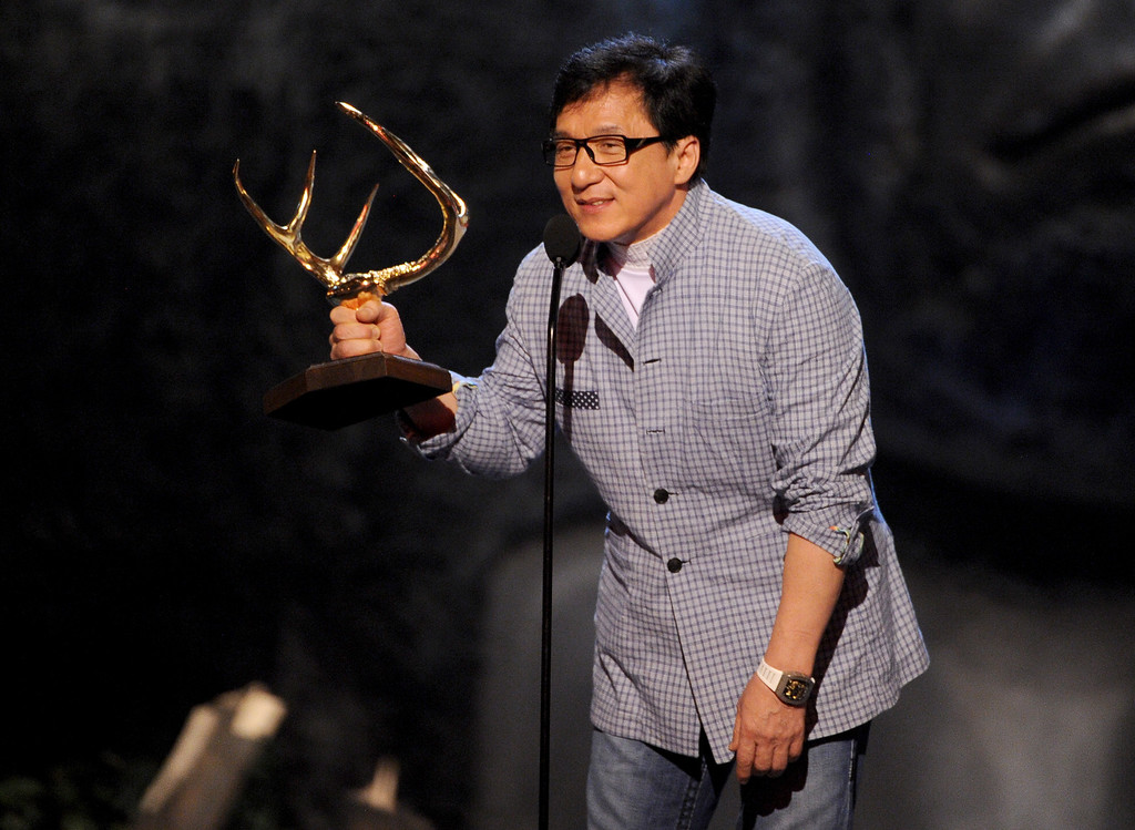 . CULVER CITY, CA - JUNE 08:  Actor Jackie Chan speaks onstage during Spike TV\'s Guys Choice 2013 at Sony Pictures Studios on June 8, 2013 in Culver City, California.  (Photo by Kevin Winter/Getty Images for Spike TV)
