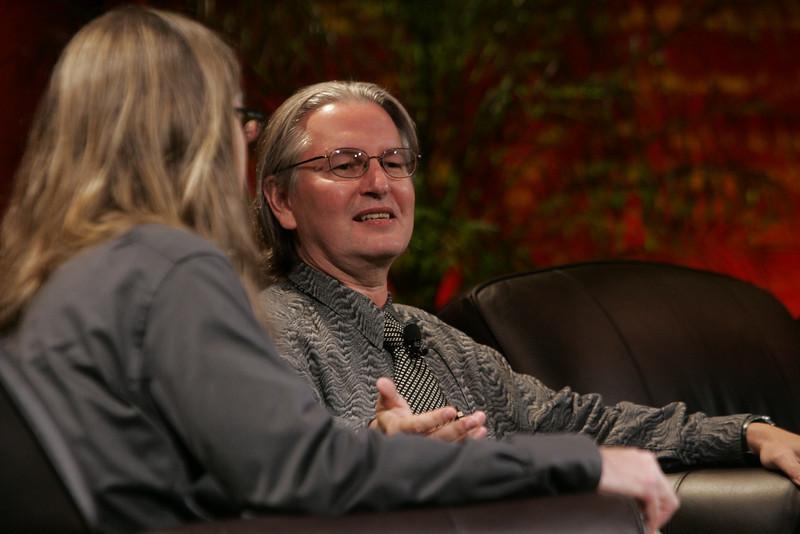 """""""Looking Further"""": Host Sheldon Brown (L), Center for Research and Computing in the Arts, and head of New Media Arts, Calit2, UCSD, and award-winning science fiction author Bruce Sterling"""