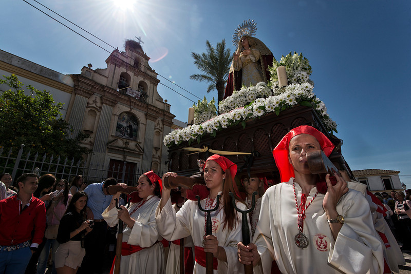 An image of the virgin Mary is taken around the narrow streets of the village during an Easter processions.  Arcos de la Frontera, Andalucia, Spain, 2014