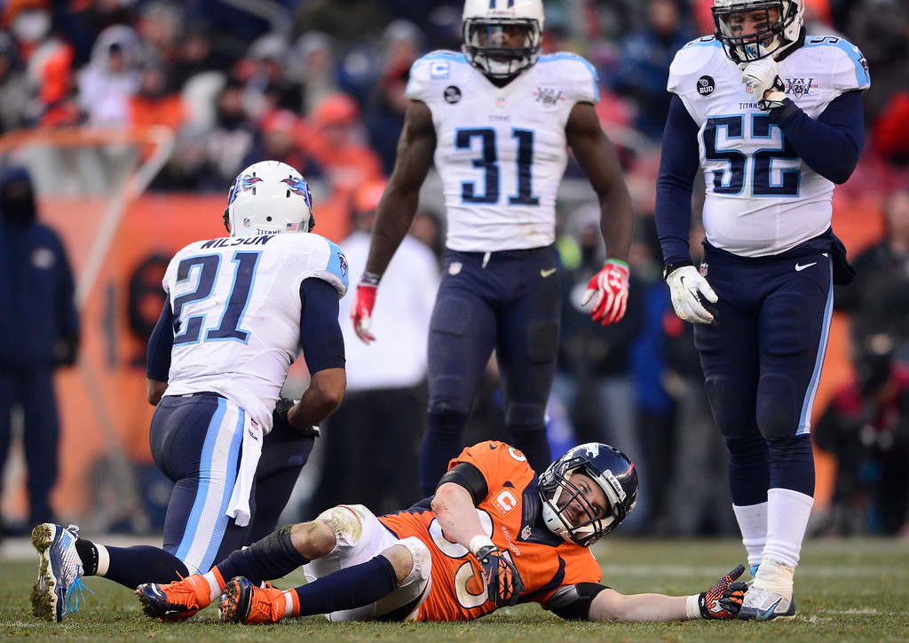 . Denver Broncos wide receiver Wes Welker (83) after getting a concussion on a hard hit in the second quarter.    (Photo by AAron Ontiveroz/The Denver Post)