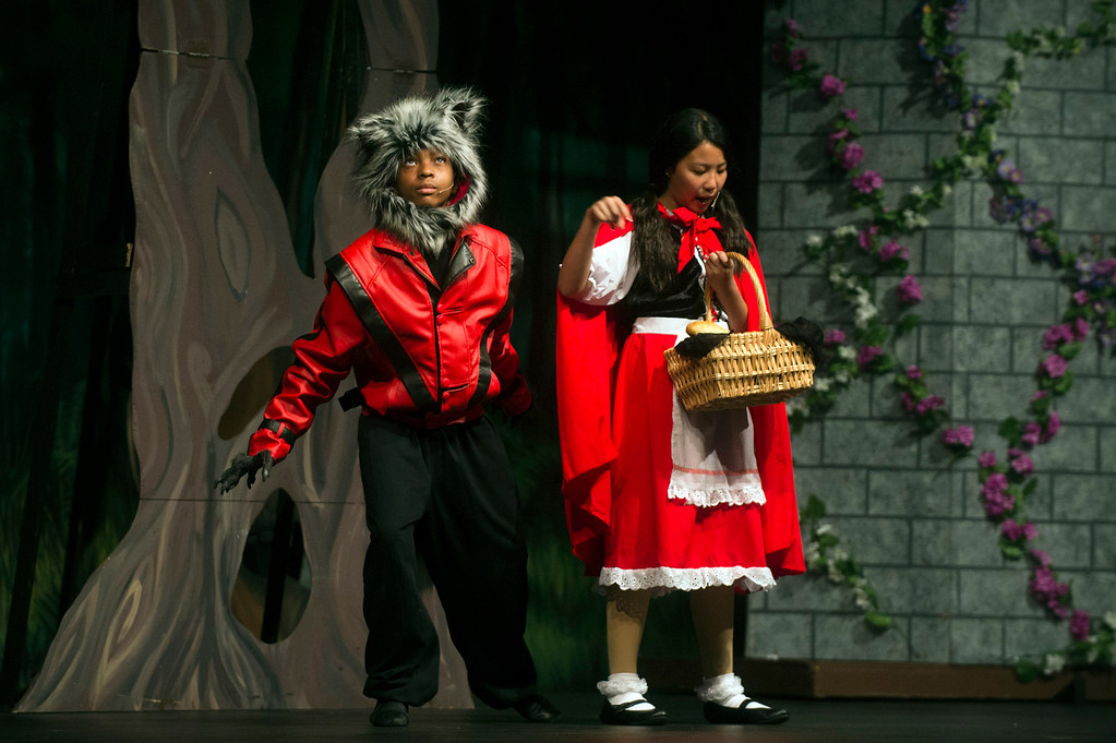 """. Students rehearses \""""Into The Woods, Junior\"""" at St. Mark\'s Lutheran School in Hacienda Height on Tuesday, March 20, 2013. (SGVN/Staff photo by Watchara Phomicinda)"""