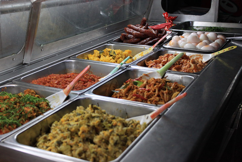 Foods in trays at JJ Market