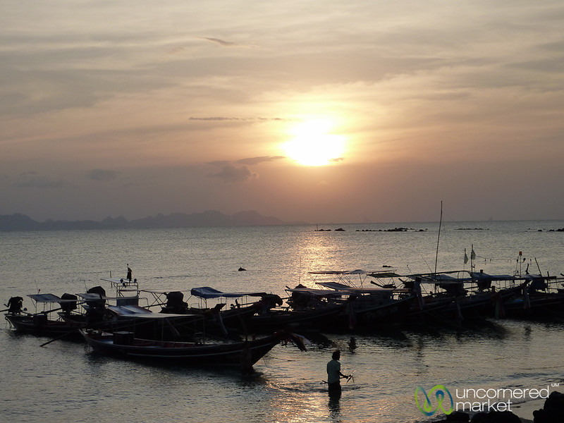 Sunset Over Long-Tail Boats - Koh Samui, Thailand