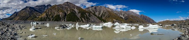 «Tasman Glacier»: Panorama des Gletschersees