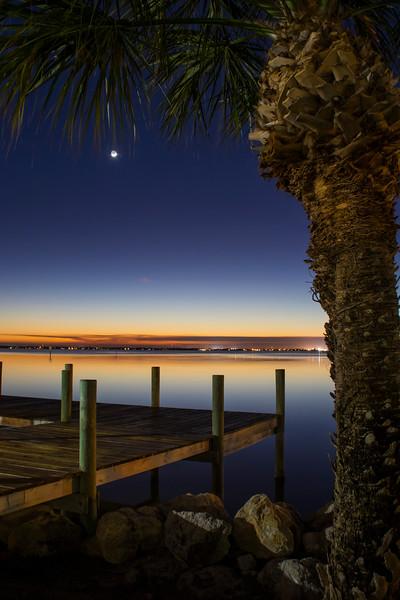 Earthshine over Banana River