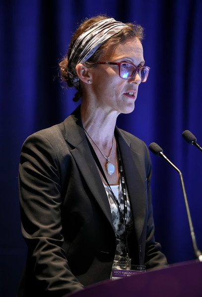Helen MacKay, MBChB, BSc., MRCP, MD, presenting abstract LBA5503, OV21/PETROC: A Randomized Gynecologic Cancer Intergroup (GCIG) phase II study of intraperitoneal (IP) vs. intravenous (IV) chemotherapy following neoadjuvant chemotherapy and optimal debulking surgery in epithelial ovarian cancer (EOC) during Gynecologic Cancer Oral Abstract Session