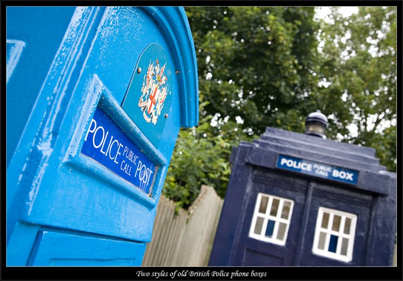 Two generations of British Police phone boxes on display (81272229).jpg