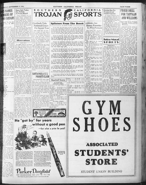 Daily Trojan, Vol. 23, No. 5, September 17, 1931