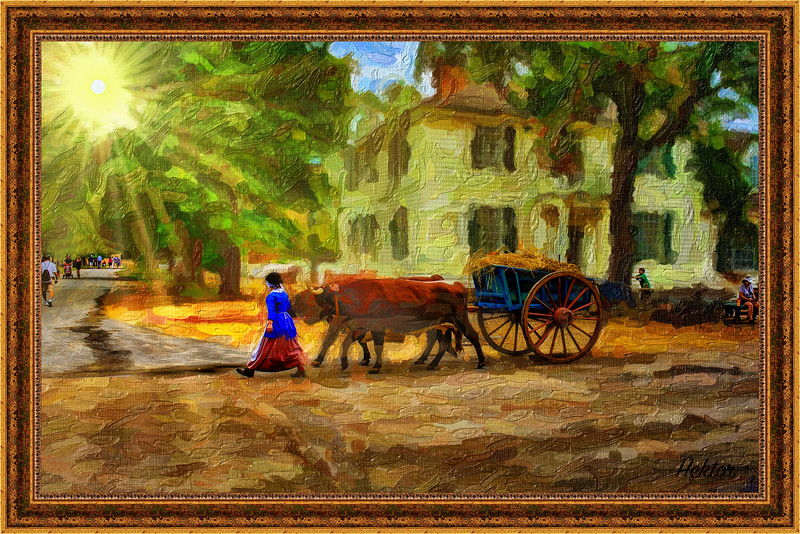 Young Girl with a Hay Cart