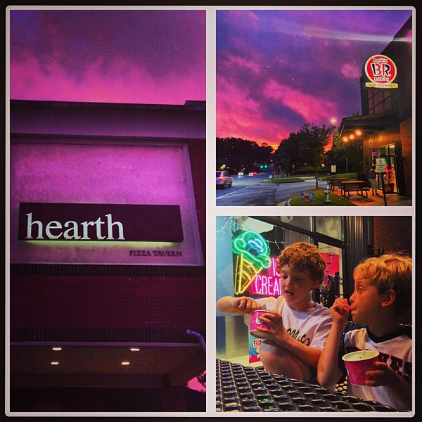 Night out at our favorite Sandy Springs spots #hearthpizza #baskinrobbins