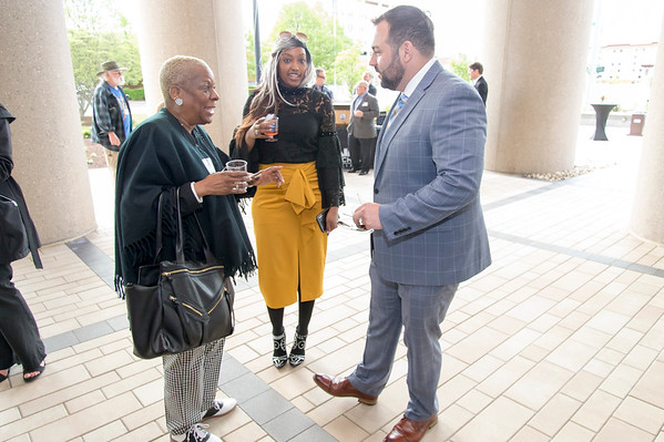 05/15/19 Wesley Bunnell | Staff The Greater New Britain Chamber of Commerce @ Tomasso Group held an after business party with food and drinks and networking before unveiling their signature bee which is part of Bees Across New Britain. OIC's Paulette Fox and New Britain Chamber Interim President Kyle Kummer.