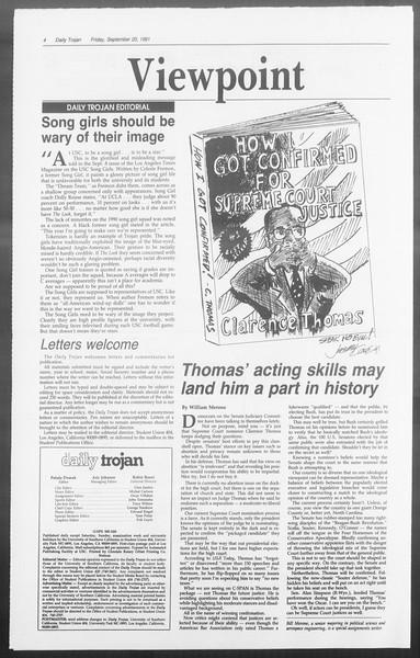 Daily Trojan, Vol. 116, No. 14, September 20, 1991