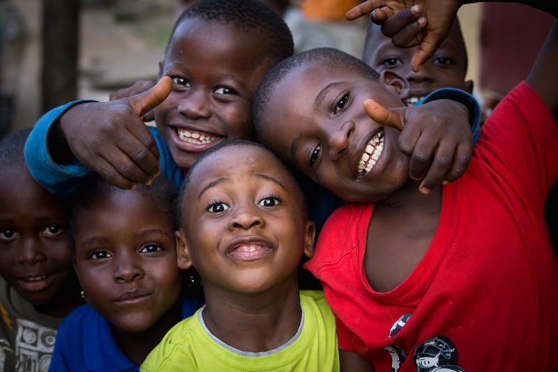 Monrovia, Liberia October 13, 2017 - Sreet scene with smiling kids.