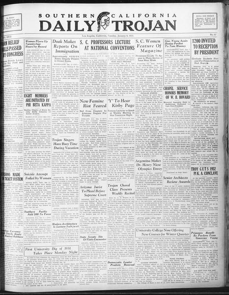 Daily Trojan, Vol. 22, No. 67, January 06, 1931