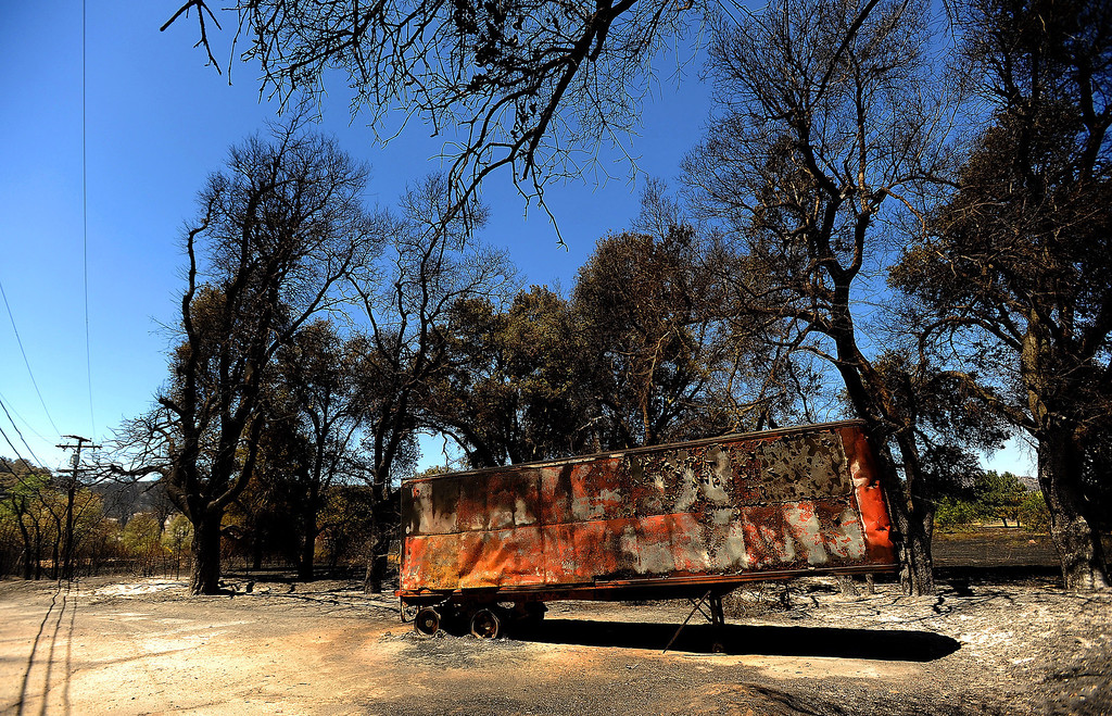 . A view of a trailer that was burned one along Twin Pines Road in the mountains south of Banning August 8, 2013.   GABRIEL LUIS ACOSTA/STAFF PHOTOGRAPHER.