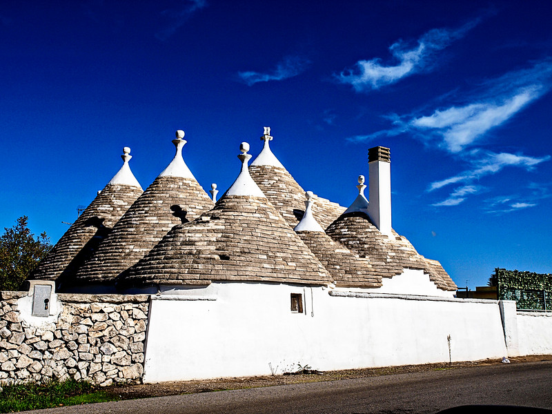 Enjoying all the different Trulli on our drive from Martina Franca to Ostuni (about 29 km)