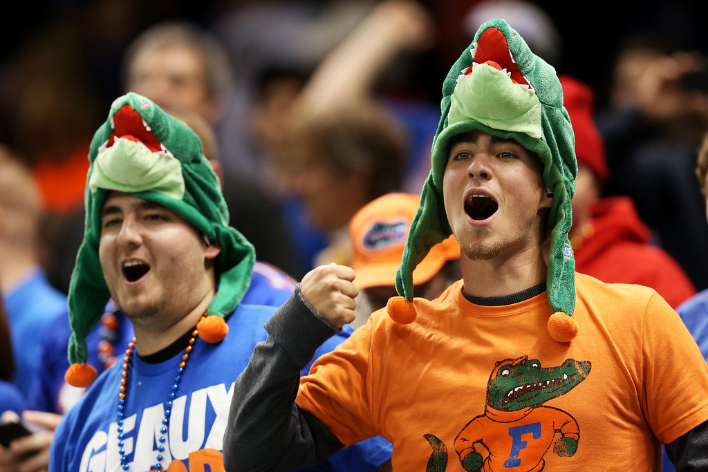 . Florida Gators fans watch the Allstate Sugar Bowl against the Louisville Cardinals at Mercedes-Benz Superdome on January 2, 2013 in New Orleans, Louisiana.  (Photo by Matthew Stockman/Getty Images)